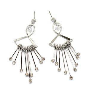 Noble pendant fan crystal earrings